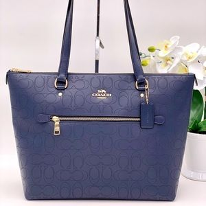 Coach Signature Leather Gallery Tote Blue